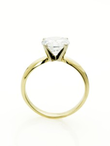 Gold and Diamond Solitaire Ring