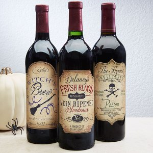 This set of 3 devilishly designed labels can be individually personalized with any name(s) you'd like.